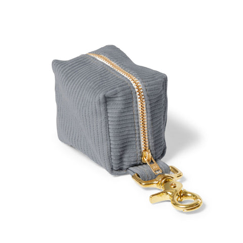Corduroy Poop Bag Holder - Blue/Grey
