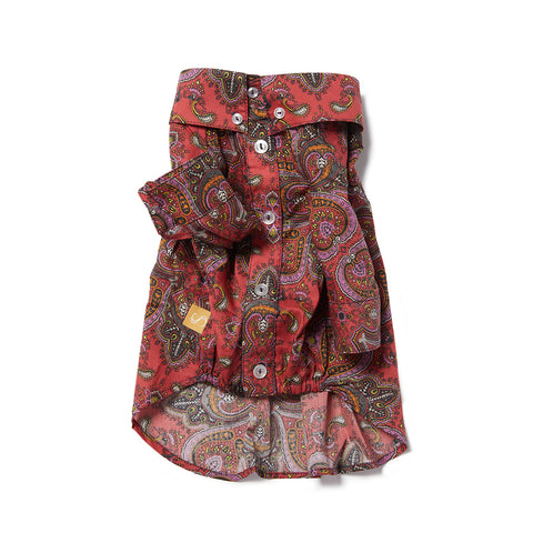 Liberty Dog Shirt - Paisley Coral