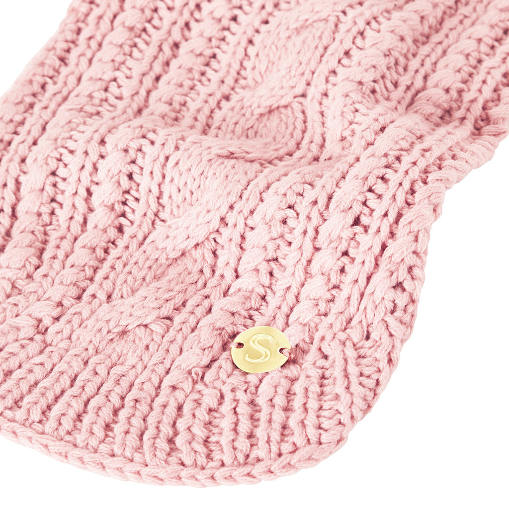 Merino Wool Cable Knit Dog Sweater - Soft Pink