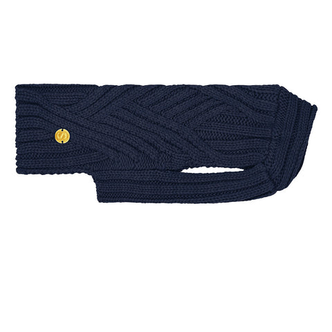 Merino Wool Cable Knit Dog Sweater - Indigo