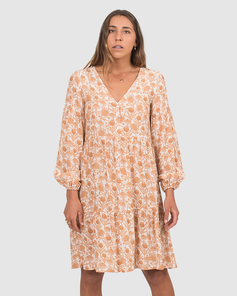 Amelia Dress in Natural Banksia Print
