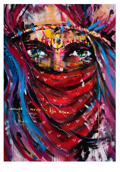 Ana Kuni art, limited edition paper print. Warrior Woman series.