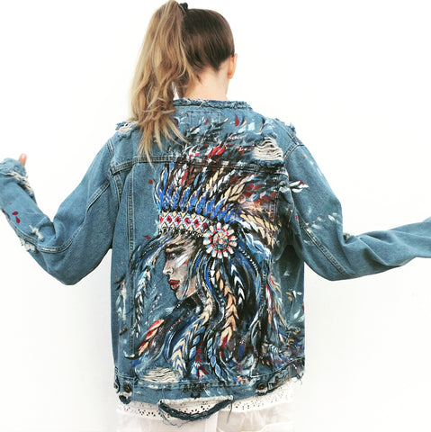 Ana Kuni Art on denim, one of a kind hand painted