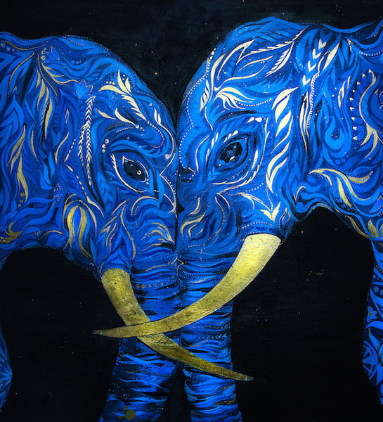 Blue elephant poster by Ana Kuni