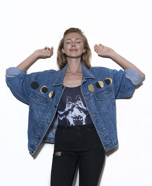 Vintage denim jacket with original artwork by Ana Kuni