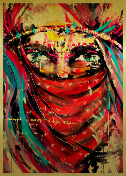 Warrior woman art by Ana Kuni on gold metal