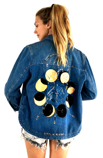 hand painted H&M denim jacket by Ana Kuni