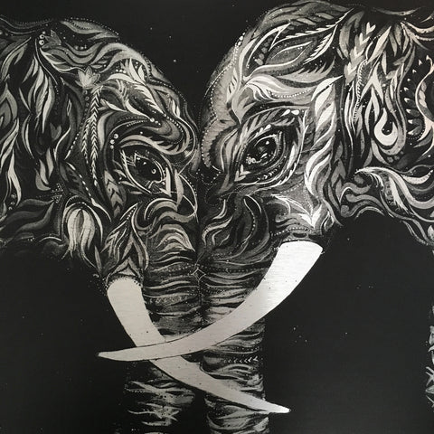 Elephants by Ana Kuni. Art on metal