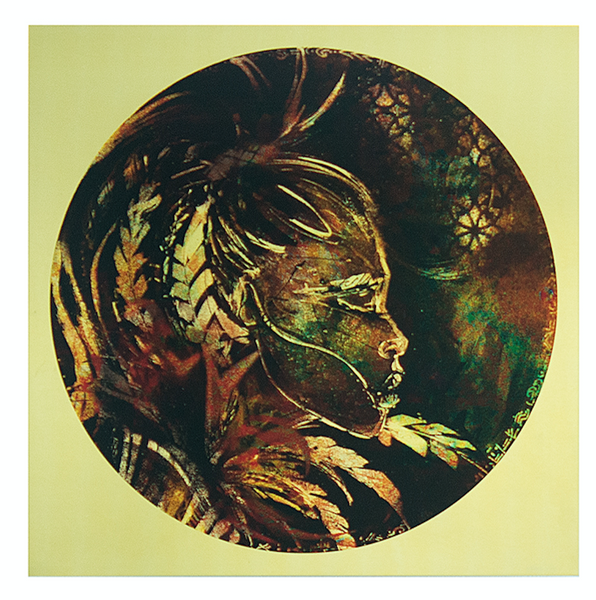 Ana Kuni Art on brass. Warrior woman