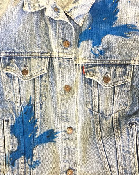 Hand painted vintage denim jackets by Ana Kuni