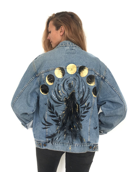 Vintage denim with hand painted artwork by Ana Kuni