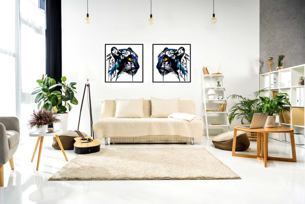 Black panther paper prints in interior, by Ana Kuni