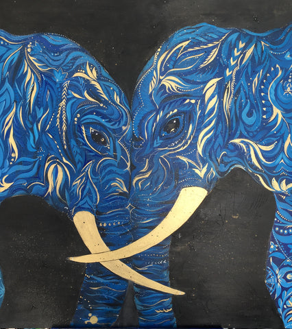 Blue Elephants, wildlife acrylic painting by Ana Kuni