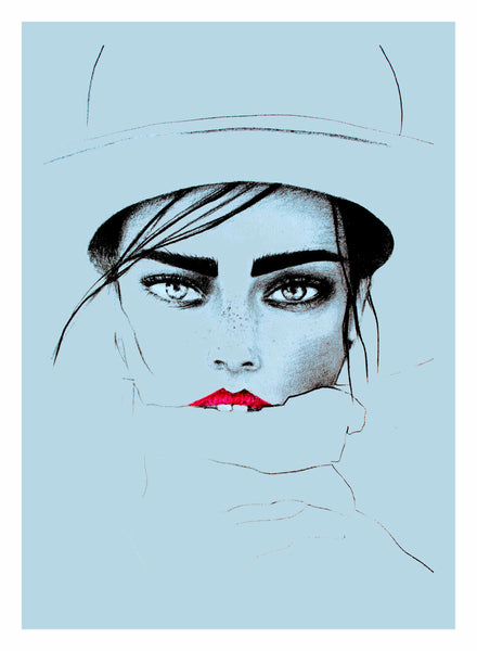 fashion illustration of Jessica Lee Buchanan by Ukrainian artist Ana Kuni