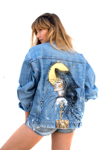 Ana Kuni art on denim, one of a kind denim jacket