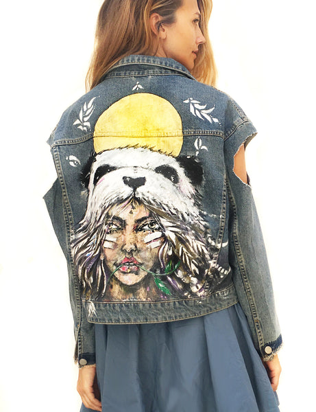 Hand painted denim Asos jacket, one of a kid artwork by Ana Kuni