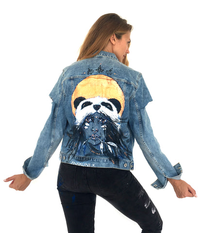 Panda one of a kind painting by Ana Kuni on Topshop denim