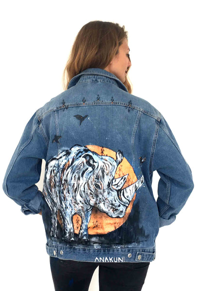 Rhino Topshop denim jacekt,hand painted by Ana Kuni