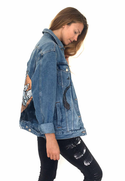Rhino Topshop denim jacket hand painted by Ana Kuni
