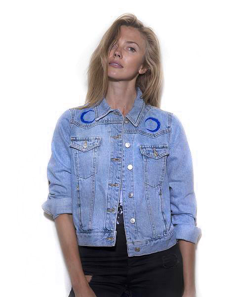 TOPSHOP denim jacket with original artwork by Ana Kuni