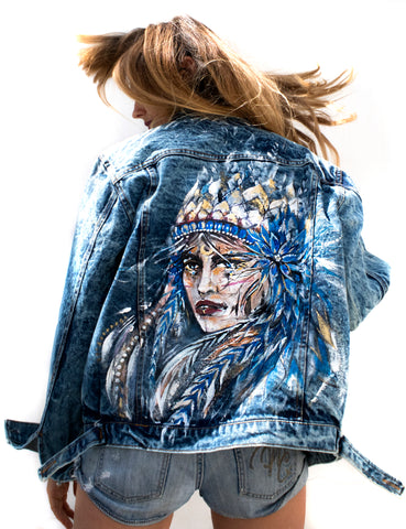Warrior Woman original painting on vintage denim by Ana Kuni