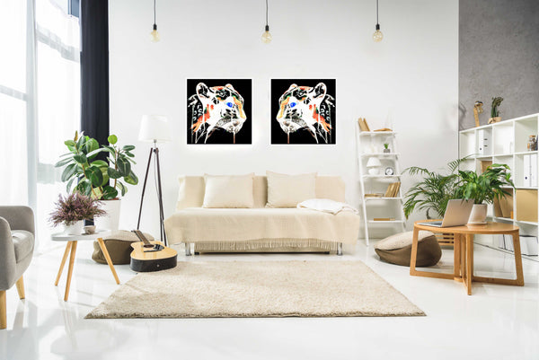 White panther paper print in interior, by Ana Kuni