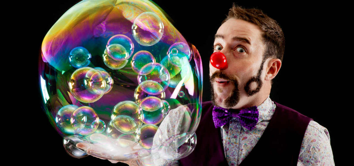Soap Bubble Artist Dr Froth shows off his bubble mix solution