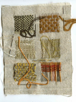 6 squares of woven stitching
