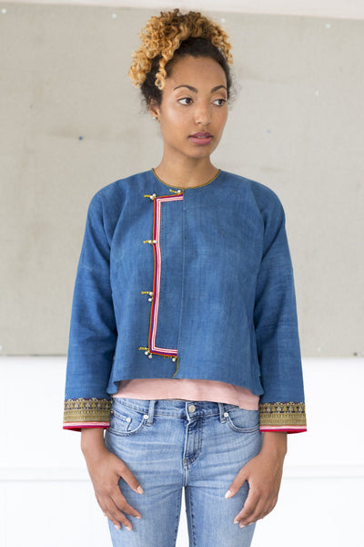 Indigo jacket with embroidery from Dzao in North Vietnam