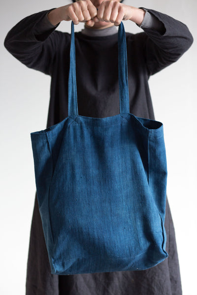 naturally dyed indigo tote bag handwoven cotton