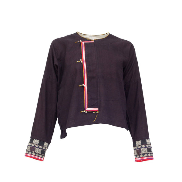 Embroidered Jacket with purple mountains, people and rice paddies