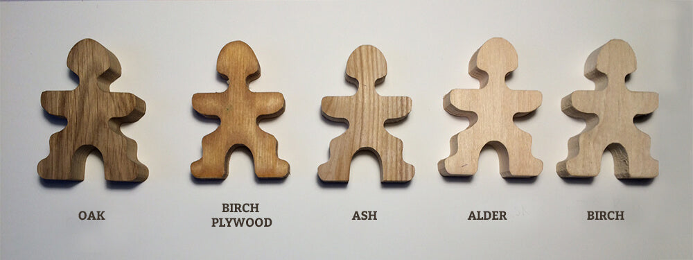Various wood types that we trialled for Flockmen