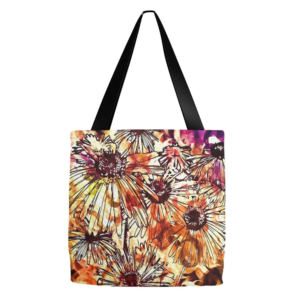 Flowers Print Tote Bag 18 x 18""