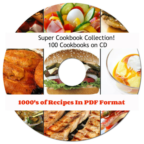 Super Cookbook Collection! 100 Cookbooks on CD ebooks Thousands of Recipes! on CD