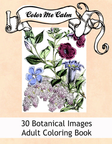 """Color Me Calm""  30 Botanical Floral Design Patterns Coloring Book for Adults To Print PDF Digital Download 653"