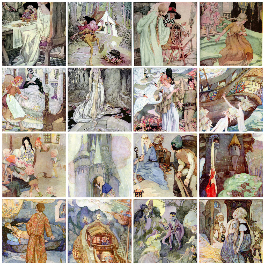 Vintage Fairy Tale images #1 by Anne Anderson Collage Sheet