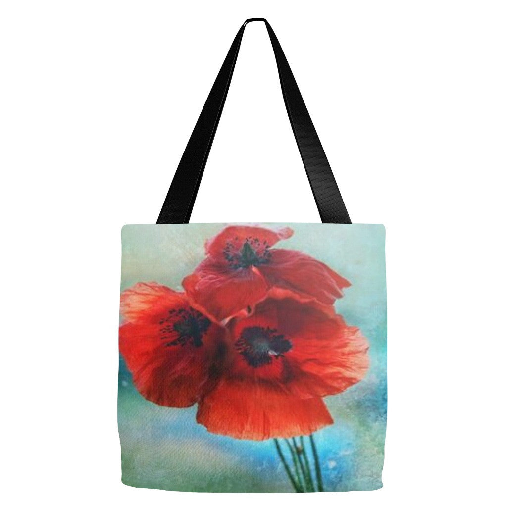 Poppy Flower Tote Bag 18 x 18""