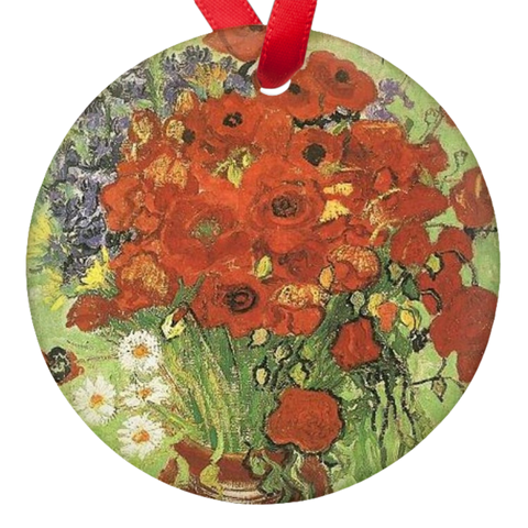 Vincent Van Gogh Poppies Double Sided Porcelain Ornaments