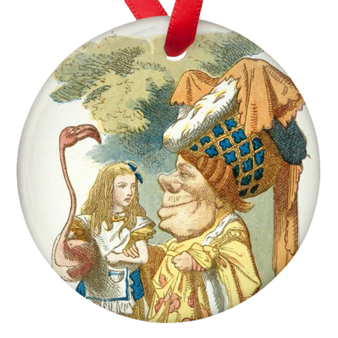 "Alice in wonderland ""Alice and the Dutchess"" Double Sided Porcelain Ornaments"