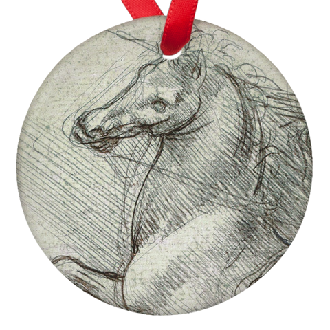 Da Vinci Horse Double Sided Porcelain Ornaments