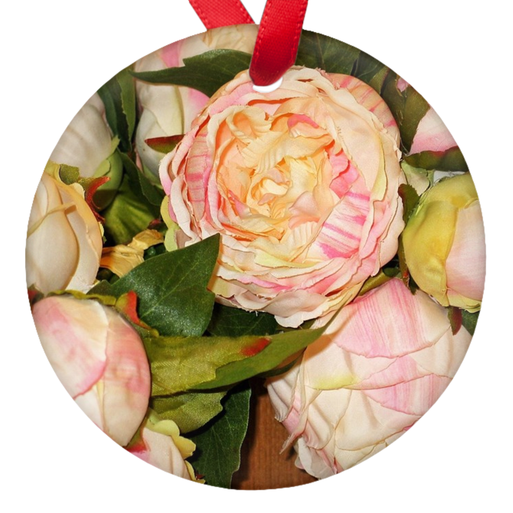 Christmas Roses Double Sided Porcelain Ornaments