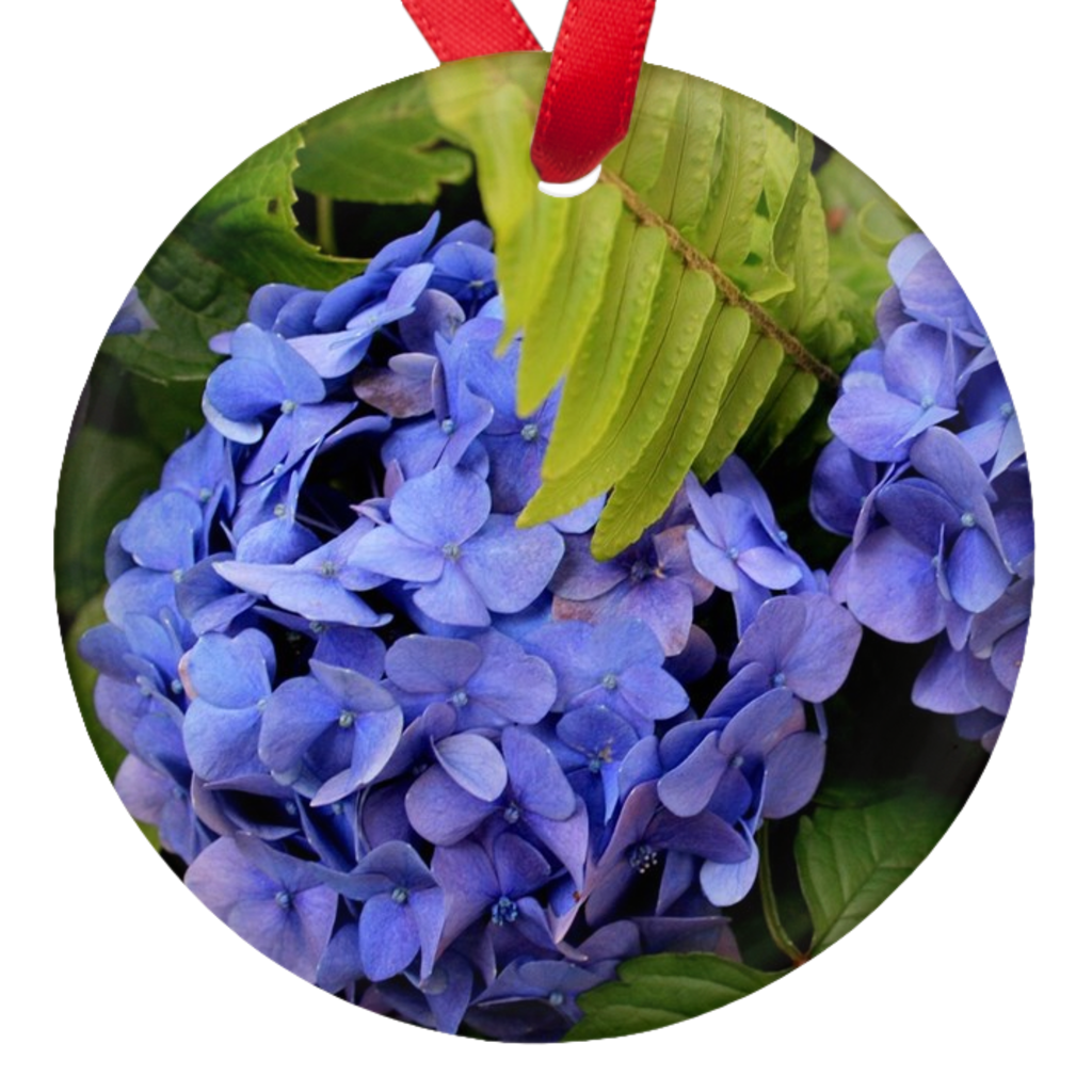 Hydrangea Flowers Double Sided  Porcelain Ornaments