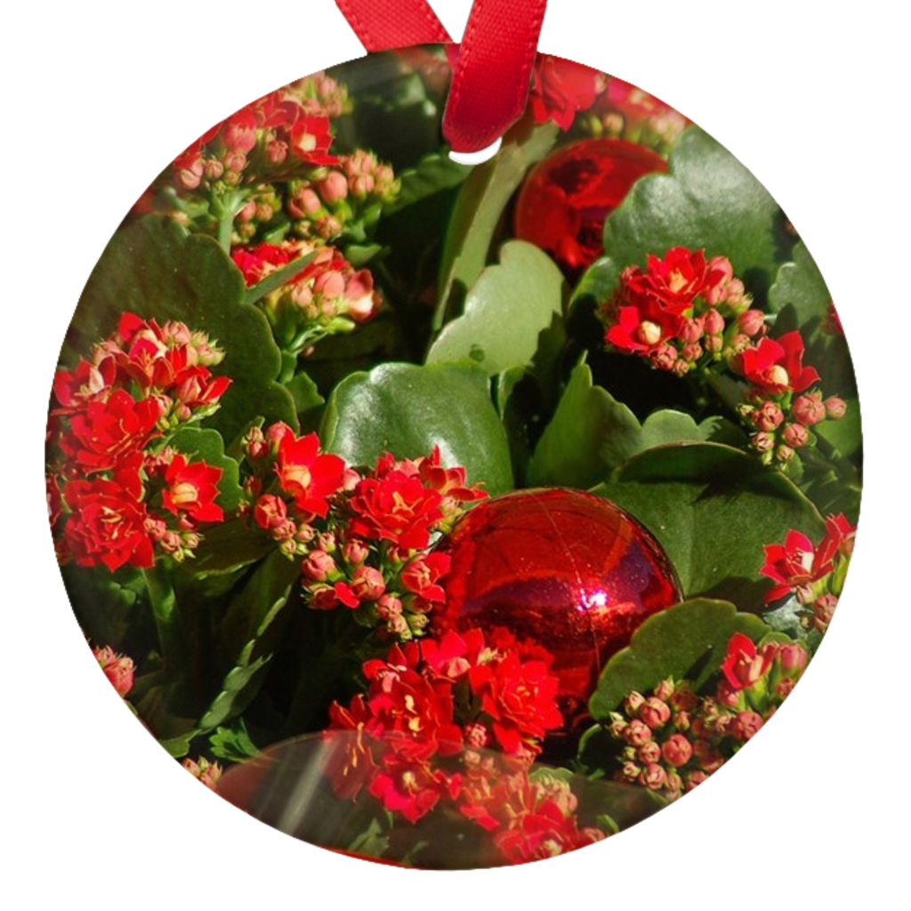 Christmas Flowers Double Sided Porcelain Ornaments