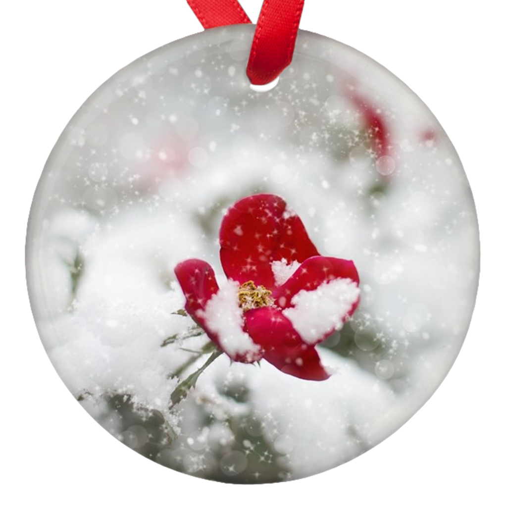 Christmas Flower Double Sided Porcelain Ornaments