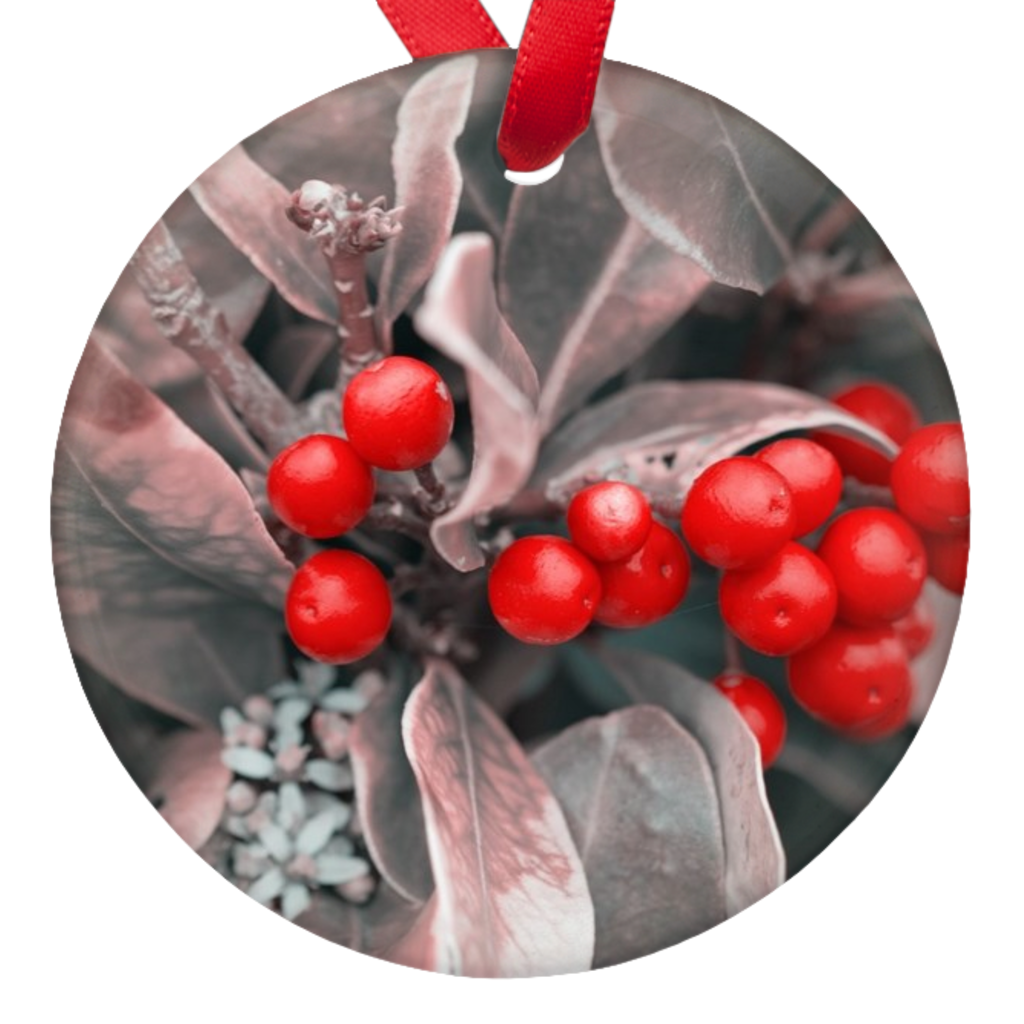 Christmas Berries Double Sided Porcelain Ornaments