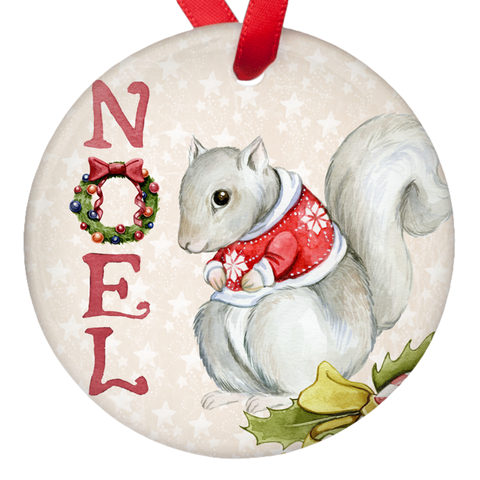 Noel Squirrel Single Sided Christmas Porcelain Ornaments