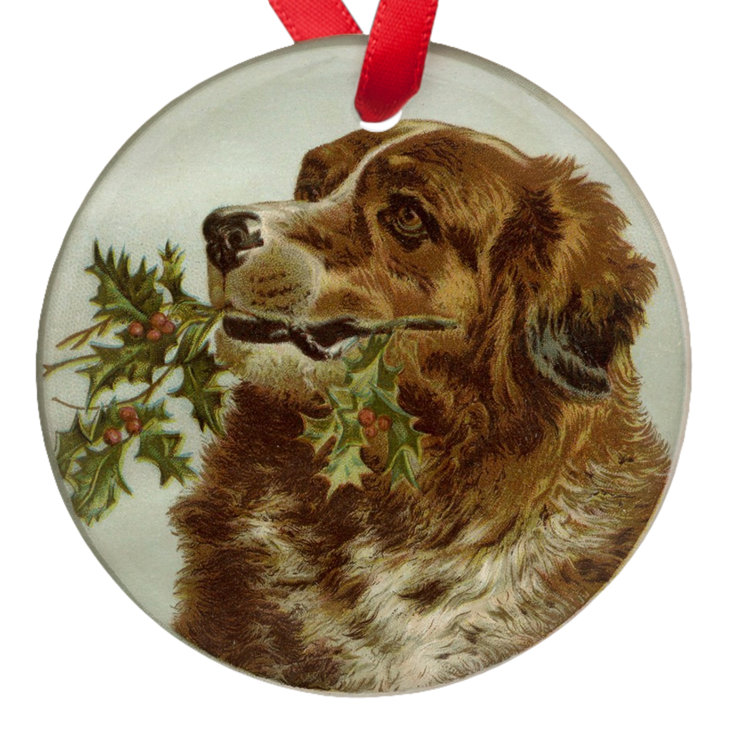 Saint Bernard Dog Single Sided Christmas Porcelain Ornaments