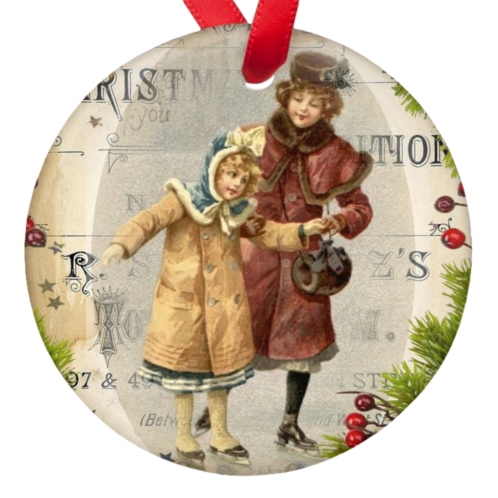 Vintage Christmas Image Double Sided Porcelain Ornaments