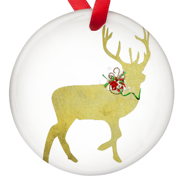 Gold Deer Merry Christmas Porcelain Ornaments Double Sided