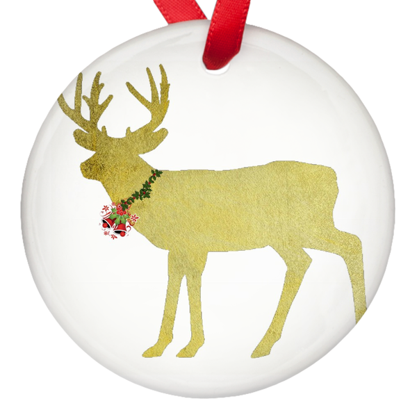 Gold Deer Marry Christmas 2018  Porcelain Ornaments Double Sided